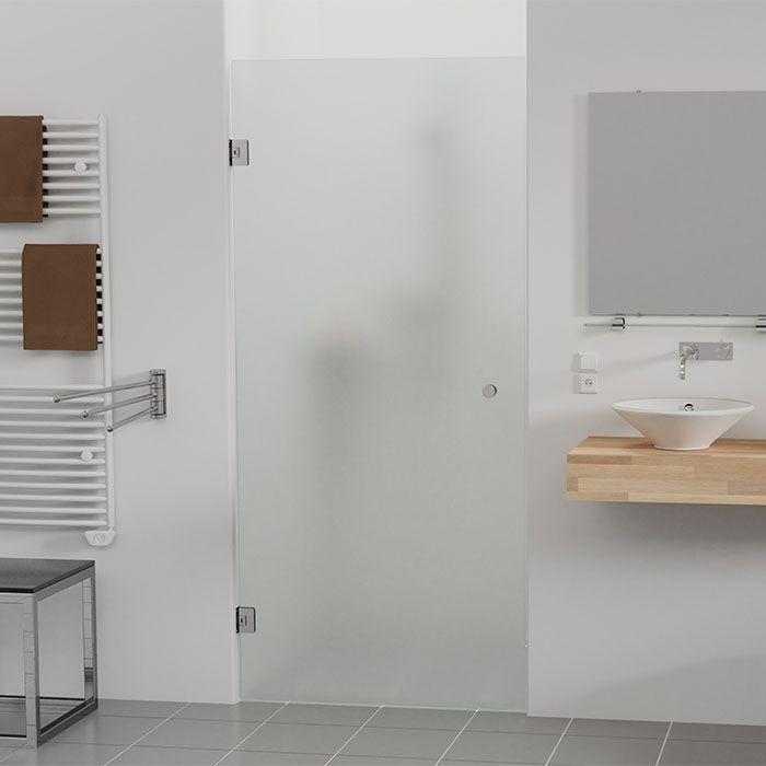 Douchedeur op maat van mat glas