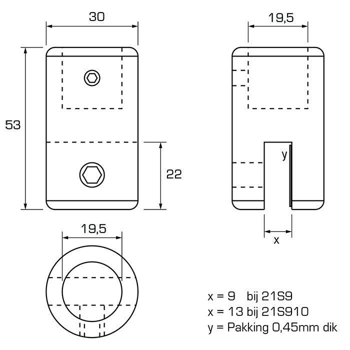 Glasbevestiging verticaal (10 - 12mm glas)