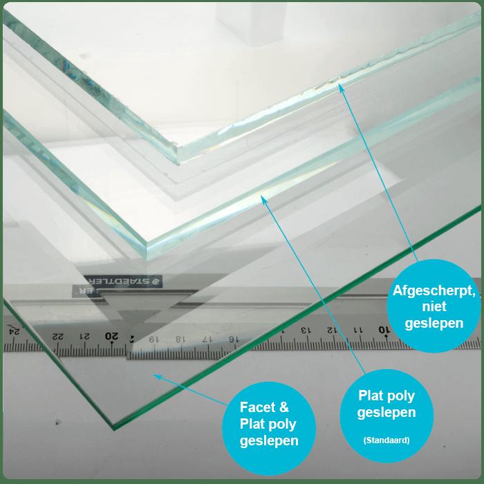 Glazen tafelblad helder glas