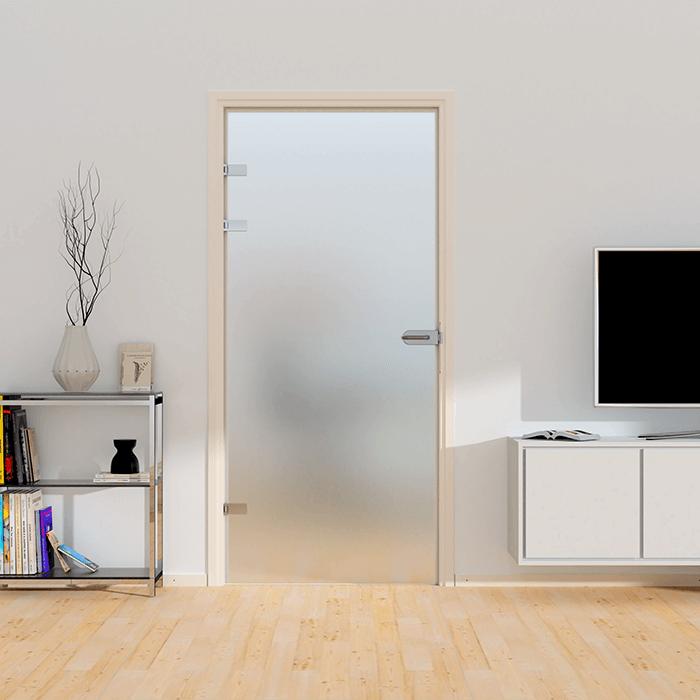 Stompe deur XL van mat glas