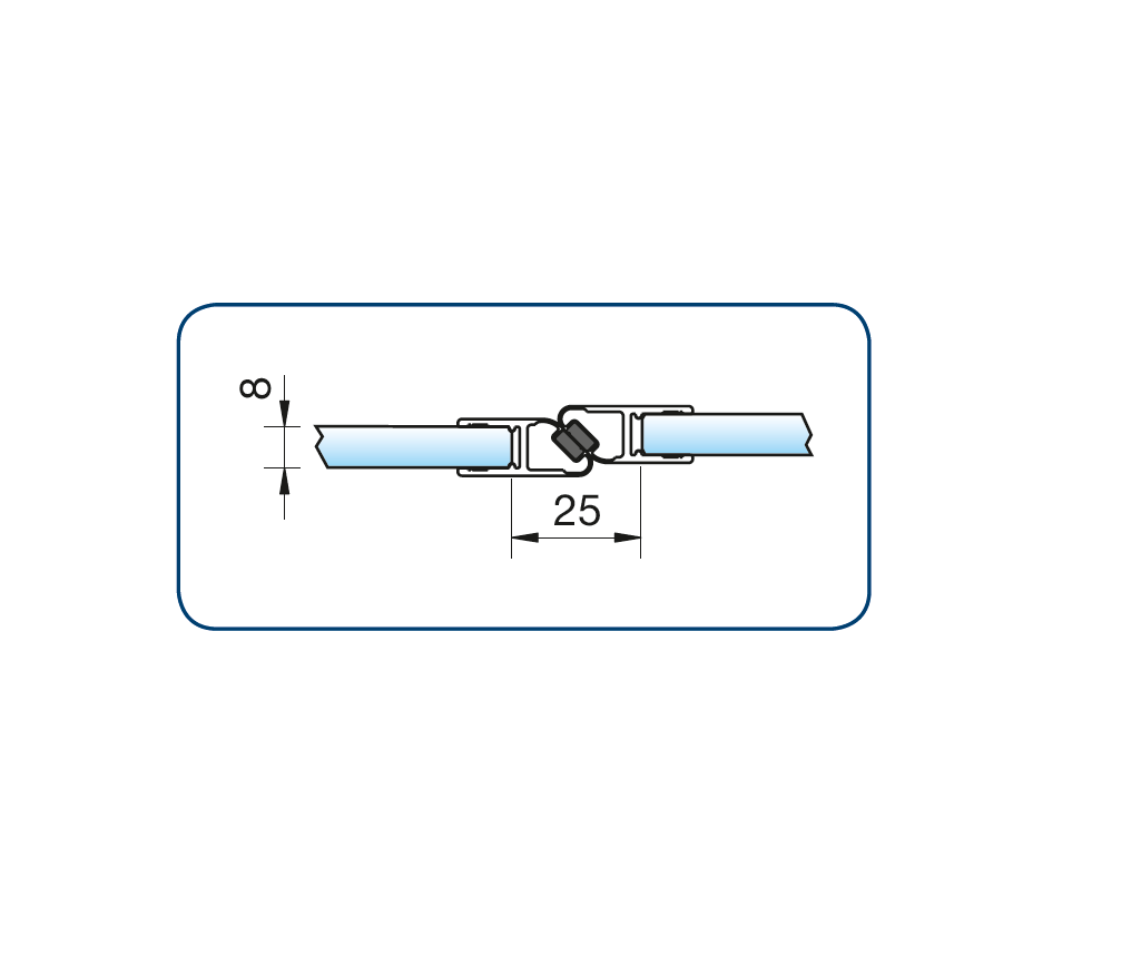 Zwarte magneetstrip in lijn enkelwerkend