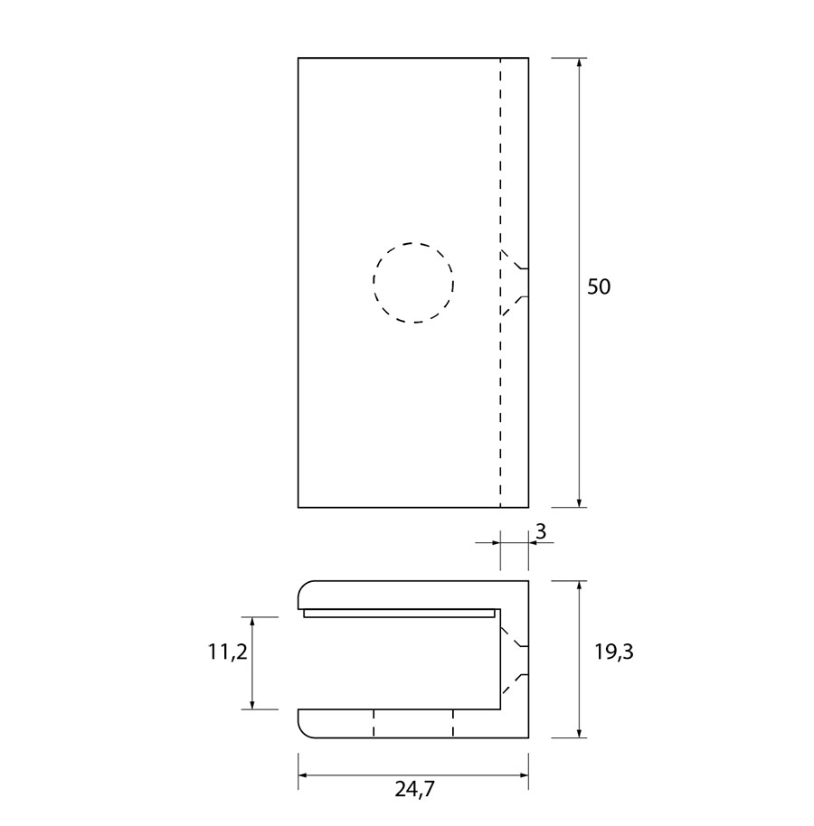 Glasplaatdrager GPD54