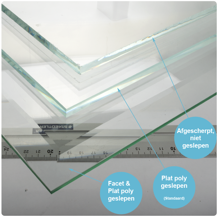 Glazen tafelblad extra helder glas